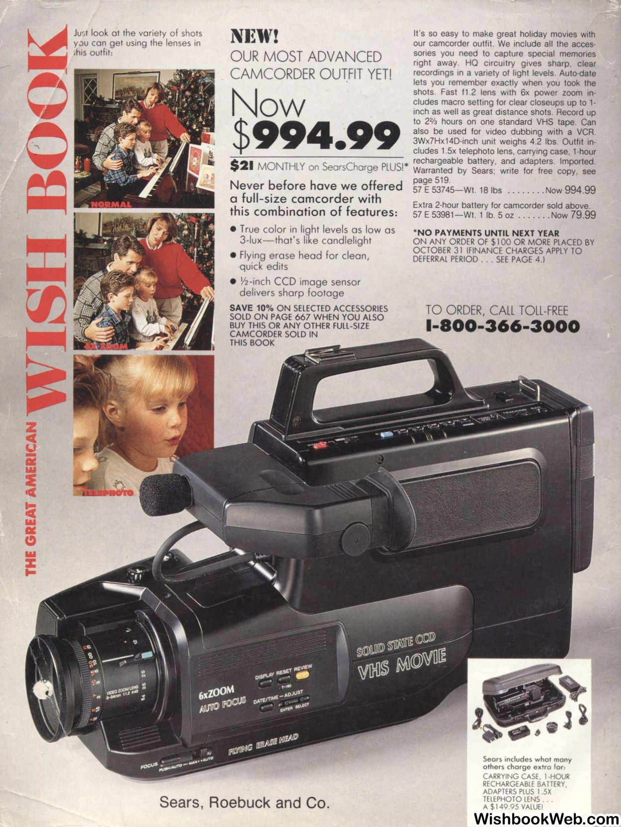 Sears catalog VHS camcorder for $995